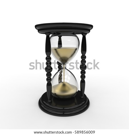 3D rendering of an antique egg timer hourglass with gold sand and black frame on a white background
