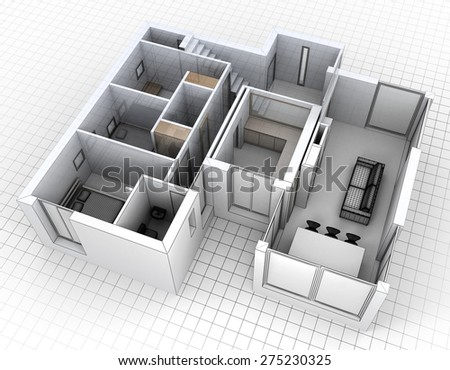 3D rendering of an apartment, aerial view - stock photo