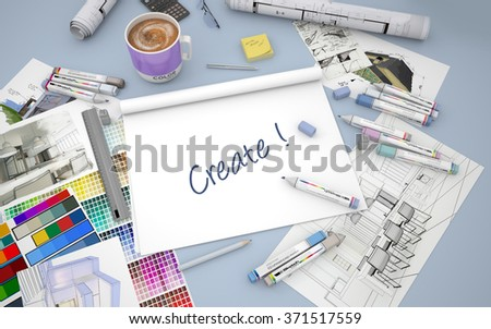 3D rendering of an architect, decorator or designer desk with an open layout notebook with the words be creative - stock photo