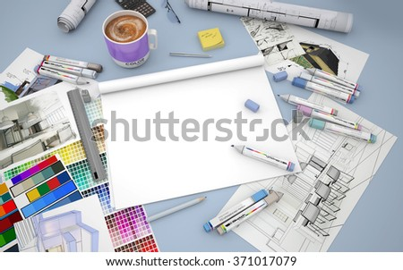 3D rendering of an architect, decorator or designer desktop with an open blank layout notebook  - stock photo