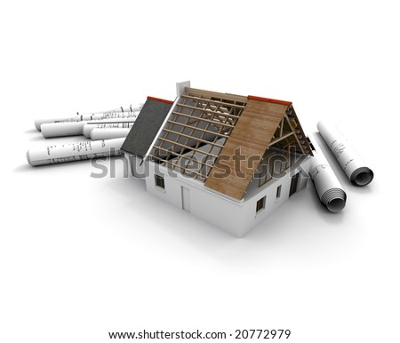 3D rendering of an architecture model of a house in construction process, with rolled up blueprints - stock photo