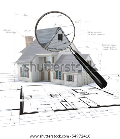 3D rendering of an architecture model scrutinized by a magnifying glass - stock photo