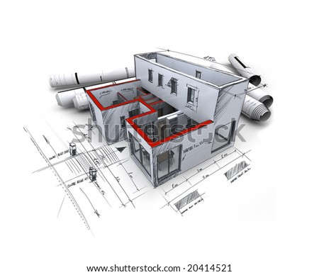 3D rendering of an architecture model, with rolled up blueprints and handwritten notes and measurements - stock photo
