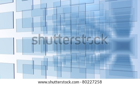 3D rendering of an array of blue glass panel on white background - stock photo