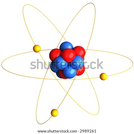 3D Rendering of an atom over white background - stock photo