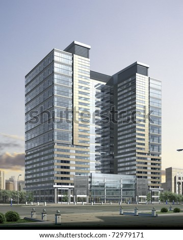 3D rendering of an business building - stock photo
