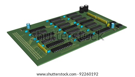 3d rendering of an electronic printed circuit board - stock photo