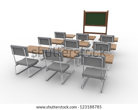 3d rendering of an empty classroom - stock photo