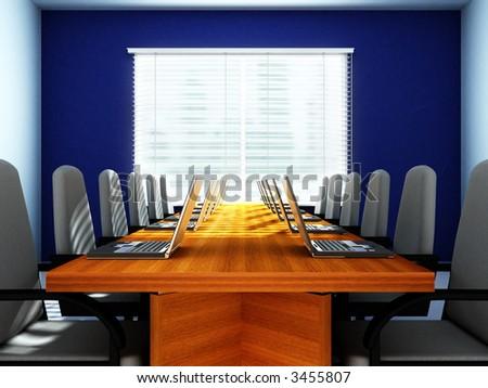 3D rendering of an empty meeting room - stock photo