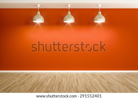 3D rendering of an empty red room with three lamps - stock photo