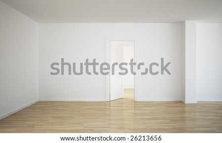 3d rendering of an empty room with an open door