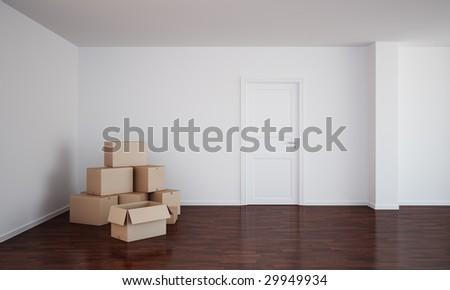 3d rendering of an empty room  with dark wood floor, cardboard boxes and an open door - stock photo