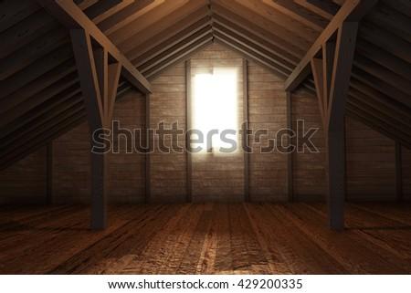 3d rendering of an empty wooden attic room - stock photo
