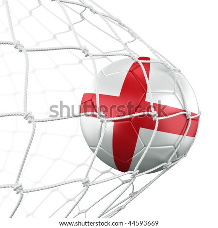 3d rendering of an English soccer ball in a net - stock photo