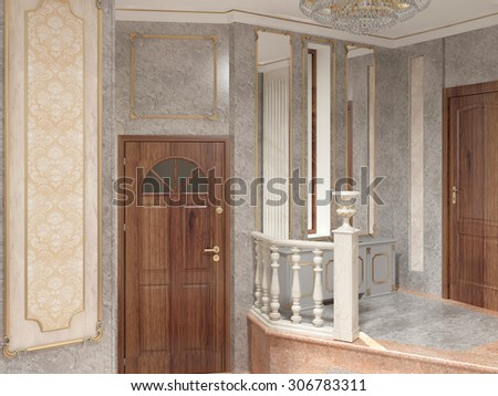 3d rendering of an entrance of a house interior design