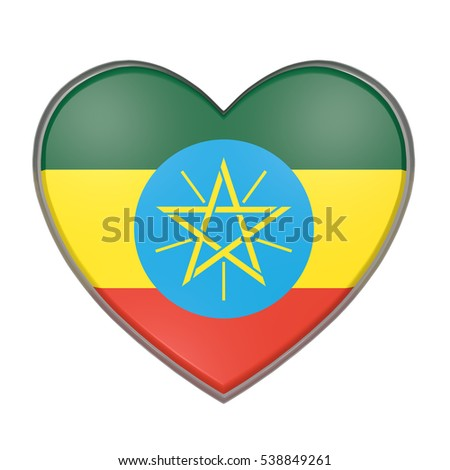 3d rendering of an Ethiopia flag on a heart. White background