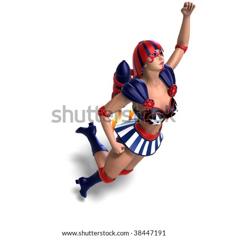 3D rendering of an female comic hero in an red, blue, white outfit with clipping path and shadow over white - stock photo