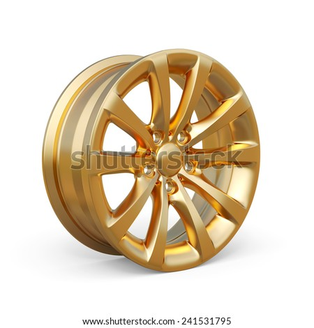 3d rendering of an golden alloy rim isolated on white background - stock photo