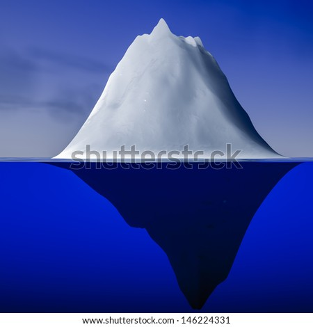 3d rendering of an iceberg - stock photo