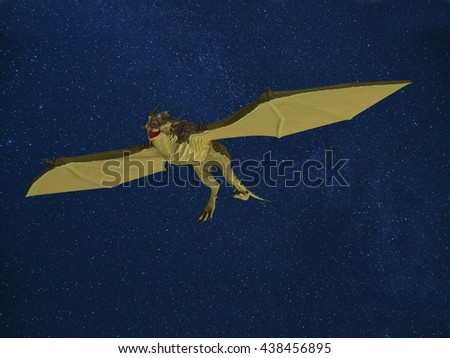 3d rendering of an illustration of dragons flying in the night sky