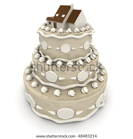 3D rendering of an impressive multi-tiered cake with a house on top - stock photo