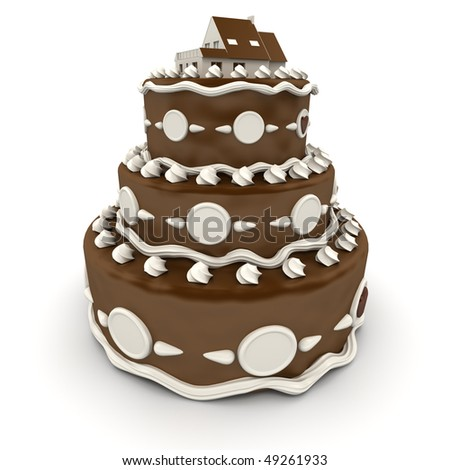 3D rendering of an impressive multi-tiered cake with a house on top
