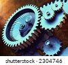 3D rendering of an industrial mechanism made up from gears - stock photo