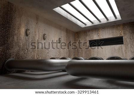 3d rendering of an interior scene with a lot of tubes
