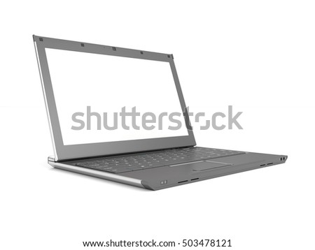3d rendering of an isolated gray laptop isolated on white background.