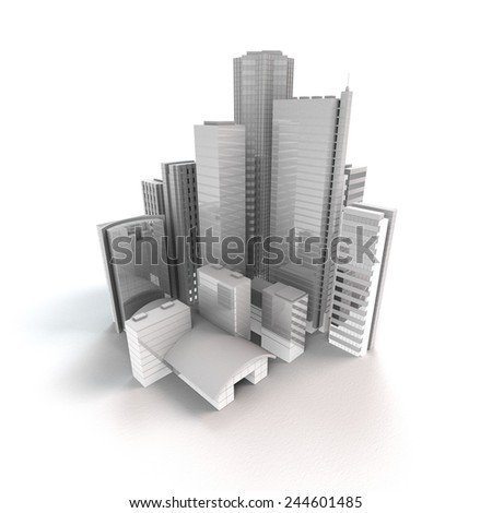 3D rendering of an isolated modern city - stock photo