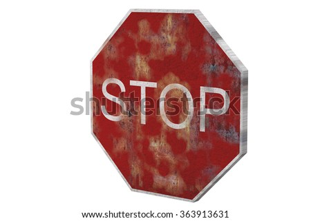 3d rendering of an isolated stop traffic sign on white background. - stock photo