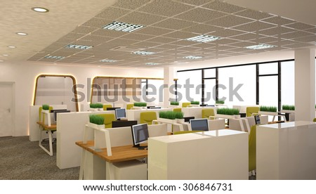 3d rendering of an office - open space interior design