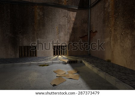 3d rendering of an old and dirty dark alley - stock photo