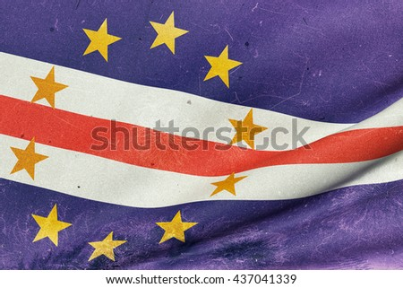 3d rendering of an old and dirty Republic of Cape Verde flag waving