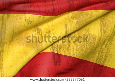 3d rendering of an old and dirty Spain flag waving - stock photo