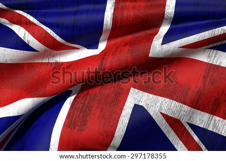 3d rendering of an old and dirty united kingdom flag