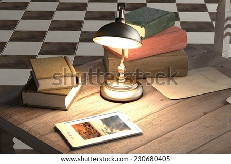 3d rendering of an old book and a tablet on a rustic room