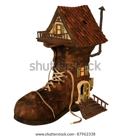3d rendering of an old boots house as an illustration in comic style - stock photo