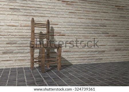 3d rendering of an old empty chair on a brick wall