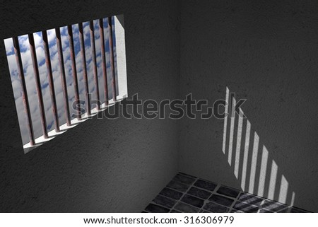 3d rendering of an old jail window
