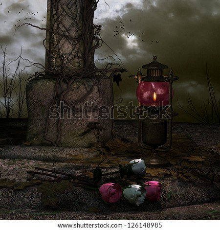 3D rendering of an old oil lamp and roses - stock photo