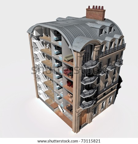 3D rendering of an old Parisian building sectioned showing rooms and interiors - stock photo