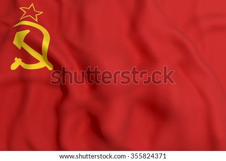 3d rendering of an old soviet flag - stock photo