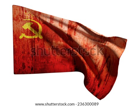 3d rendering of an old soviet flag on a white background - stock photo