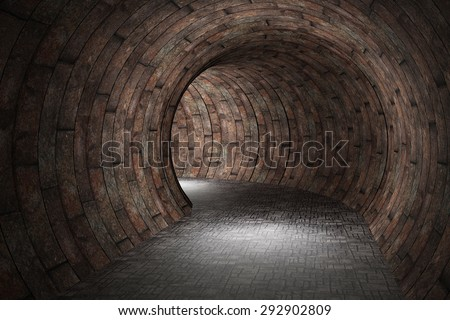3d rendering of an old stones tunnel - stock photo