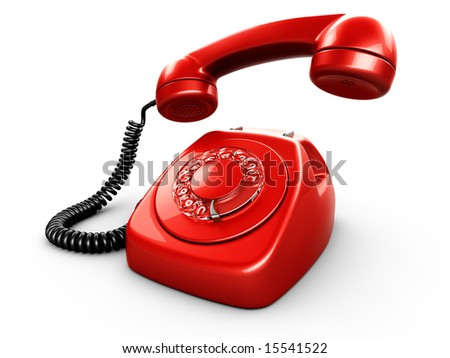 3d rendering of an old vintage phone - stock photo