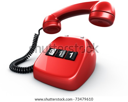 3d rendering of an old vintage phone with three BIG buttons saying 911 - stock photo