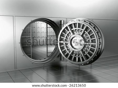 3d rendering of an open bank vault - stock photo