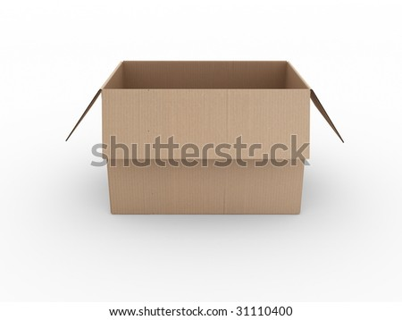 3d rendering of an open cardboard box