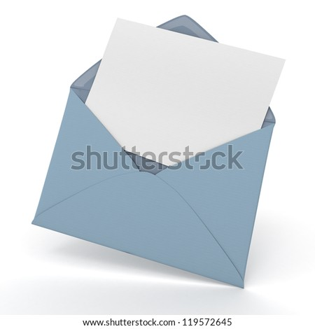 3D rendering of an open envelope and a blank, card - stock photo